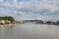 Liberty bridge gellert hill pest river danube budapest hungary Royalty Free Stock Images