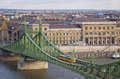 Liberty bridge over dunabe river in budapest hungary view to szabadsag híd Stock Images
