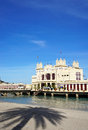 Liberty building on the sea at mondello beach of palermo in sici external view a sicily Stock Image