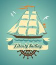 Liberty sailing sailboat in cartoon style with banner for your message Royalty Free Stock Photo