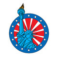 Liberty statue badge icon on white background Stock Images