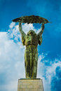 Liberty statue freedom statue of budapest hungary september at the citadel on gellert hill in it commemorates those Royalty Free Stock Images