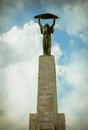 Liberty statue freedom statue of budapest hungary september at the citadel on gellert hill in it commemorates those Stock Photo