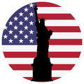 Liberty statue and usa flag Royalty Free Stock Photo