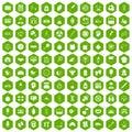 100 libra icons hexagon green