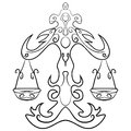 Libra tattoo ink sketch Royalty Free Stock Photo