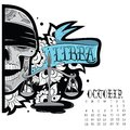 Libra tattoo page astrological calendar vector illustration Stock Images