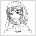 Libra. A young beautiful girl In the form of one of the signs of