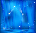 Libra zodiac background bright stars in cosmos and sign Stock Photography