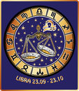 Libra zodiac sign.Horoscope circle.Retro Royalty Free Stock Photo