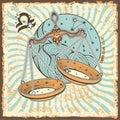Libra zodiac sign.Vintage Horoscope card Royalty Free Stock Photo