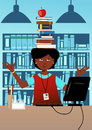 Librarian with books on her head cute african american woman balancing a stuck a book in a library at desk illustration Stock Images