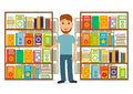 Librarian or bookseller against shelves with books. Royalty Free Stock Photo
