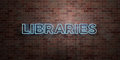 LIBRARIES - fluorescent Neon tube Sign on brickwork - Front view - 3D rendered royalty free stock picture Royalty Free Stock Photo