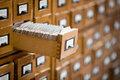 Library or archive reference card catalog. Database, knowledge base concept. Royalty Free Stock Photo