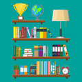 Library book shelf. Bookcase with different books. Royalty Free Stock Photo