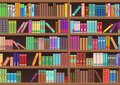 Library book shelf literature books cartoon vector background. Royalty Free Stock Photo