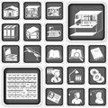 Library buttons set illustration of a Stock Photos