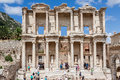 Library of celsus ephesus the facade the ruins the with its ionic and corinthian order columns in turkey Stock Images