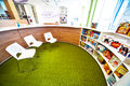 Library photo of books in a row in july kiev ukraine opening of novopecherskaya school new shool with super modern building Stock Image