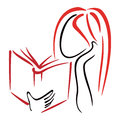 Library symbol illustration of women reading a book Royalty Free Stock Photos