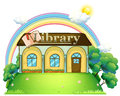 A library at the top of the hill illustration on white background Stock Image