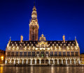 Library of the university of leuven at night belgium blue hour Stock Photography