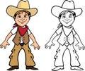 Libro da colorare del bambino del cowboy Immagini Stock Libere da Diritti