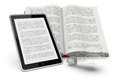 Libro e nuove tecnologie one open book and a tablet pc showing the same text concept of ebook d render Royalty Free Stock Images