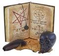 Libro viejo con el cráneo negro y pluma aislada Fotografía de archivo