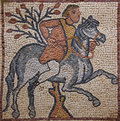 Libya Cyrenaica Byzantine mosaic horseman Royalty Free Stock Photo
