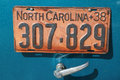 License Plate on Antique Automobile Royalty Free Stock Photos