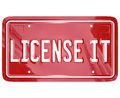 License it vanity plate approval authorization red vehicle to illustrate official or certification for a patented or copyrighted Royalty Free Stock Photos