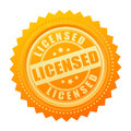 Licensed gold seal certificate on white background Royalty Free Stock Photo