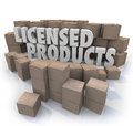 Licensed products official authorized merchandise words among cardboard boxes to illustrate goods or that is approved or certified Stock Images