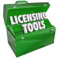 Licensing tools toolbox official authorization marketing skills words in a red metal to illustrate knowledge and talent in Royalty Free Stock Photo