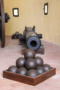 Lichtenstein Castle cannon and cannonballs Royalty Free Stock Photo