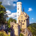 Lichtenstein Castle in summer, Baden-Wurttemberg, Germany. This famous castle is a landmark of Germany. Scenic view of fairytale