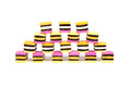 Licorice allsorts pyramid arranged into pyraid and isolated on a white background Stock Photography