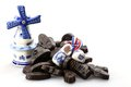 Licorice candies dutch with delftware souvenirs isolated on white background Stock Image