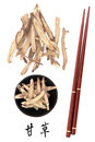 Licorice root chinese herbal medicine with mandarin title script translation and chopsticks gan cao Royalty Free Stock Photos