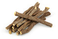 Licorice root on a white background Royalty Free Stock Image