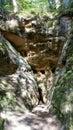 Licu Langu Sandstone Cliffs. The Big Langu Cave. Sand Formations at Lode Royalty Free Stock Photo