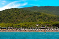 Lido beach golfo stella elba island view from the sea of at italy Royalty Free Stock Photography
