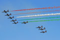 LIDO DI JESOLO, ITALY - SEPTEMBER 1: Demoteam Frecce Tricolori a Royalty Free Stock Photo