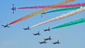 LIDO DI JESOLO, ITALY - SEPTEMBER, 1: Famous Italian flying team Royalty Free Stock Photo