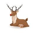 Lie cartoon reindeer