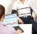 Lie detector a men passes a test Stock Photo