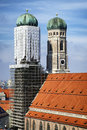 Liebfrauenkirche famous in munich germany with scaffolding Royalty Free Stock Photos