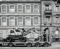 Liebherr 912 compact excavator on transportation trailer Royalty Free Stock Photo